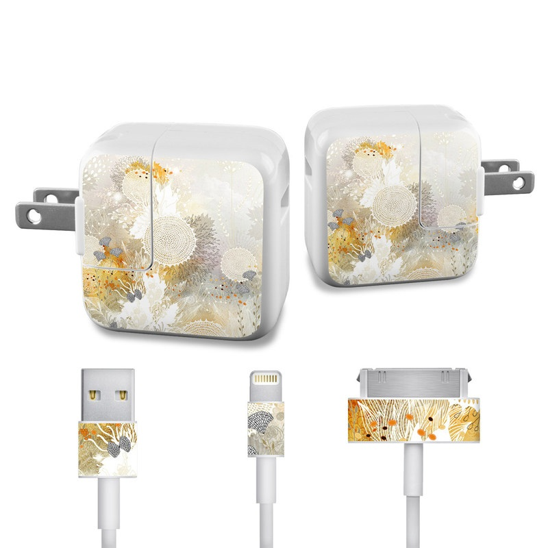 White Velvet iPad Power Adapter, Cable Skin