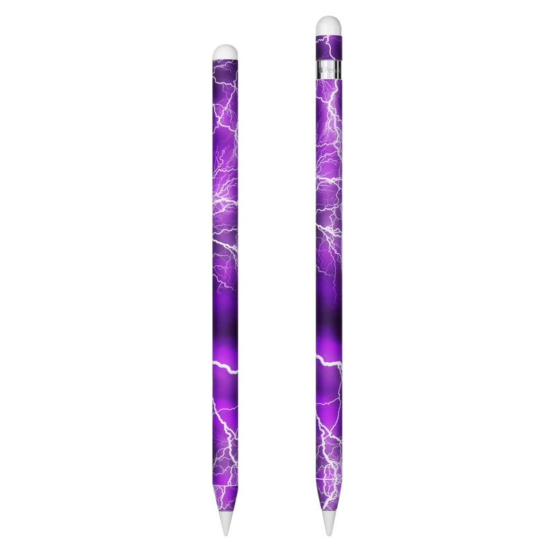Apple Pencil Skin design of Thunder, Lightning, Thunderstorm, Sky, Nature, Purple, Violet, Atmosphere, Storm, Electric blue with purple, black, white colors