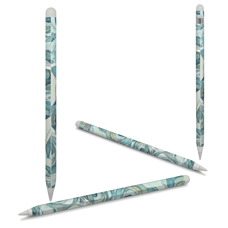 Apple Pencil Skin design of Rose, Garden roses, Blue, Flower, Rose family, Watercolor paint, Plant, Pattern, Rosa × centifolia, Blue rose with blue, green colors