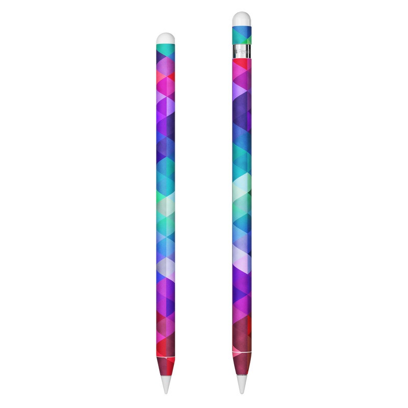 Apple Pencil 2nd Gen Skin design of Purple, Violet, Pattern, Blue, Magenta, Triangle, Line, Design, Graphic design, Symmetry with blue, purple, green, red, pink colors