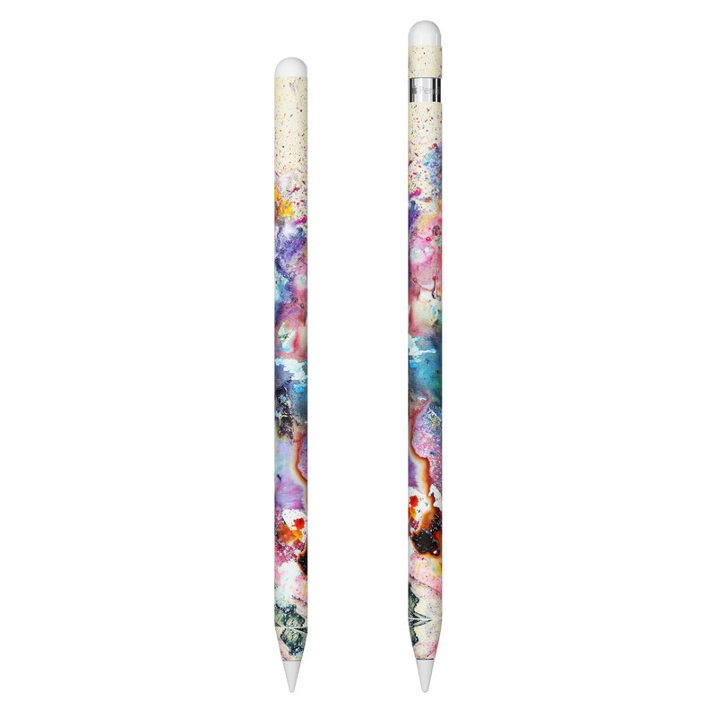 Apple Pencil Skin design of Watercolor paint, Painting, Acrylic paint, Art, Modern art, Paint, Visual arts, Space, Colorfulness, Illustration with gray, black, blue, red, pink colors