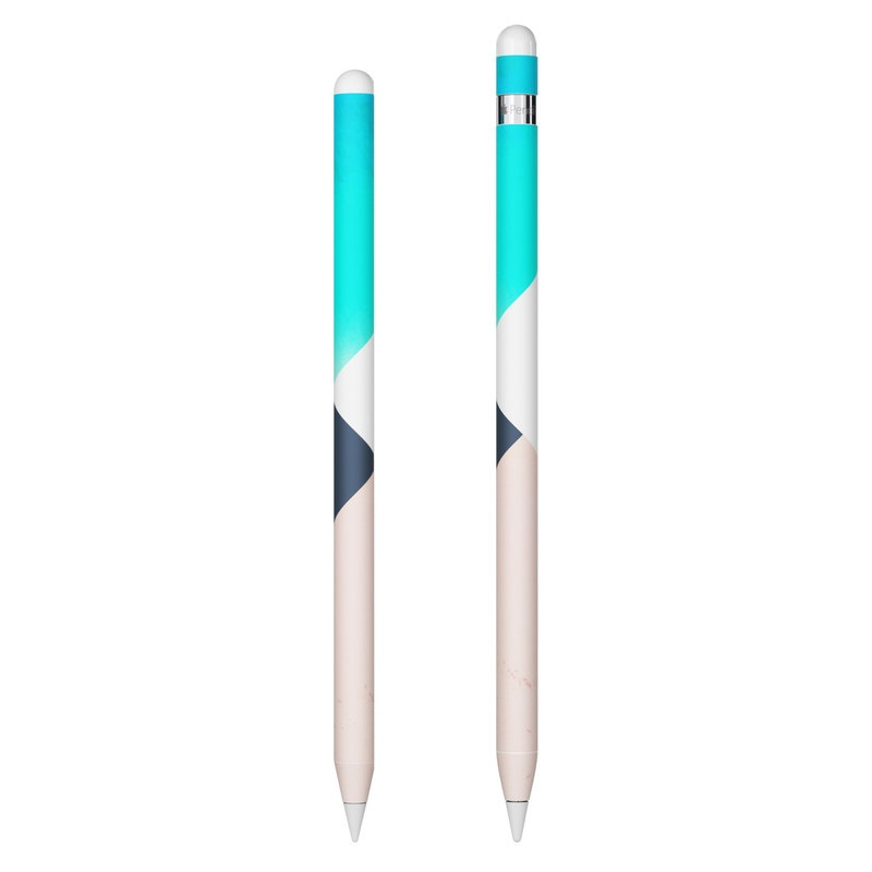 Apple Pencil Skin design of Blue, Turquoise, Aqua, Line, Triangle, Design, Material property, Graphic design, Pattern, Architecture with black, white, brown, blue colors