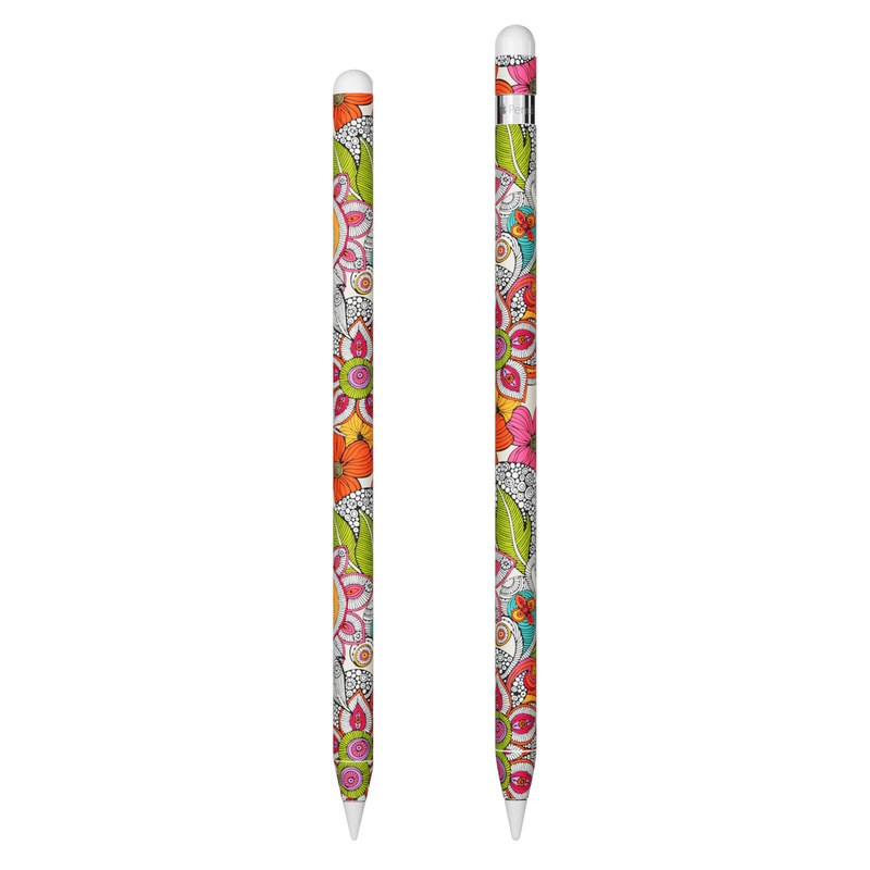 Apple Pencil Skin design of Pattern, Drawing, Visual arts, Art, Design, Doodle, Floral design, Motif, Illustration, Textile with gray, red, black, green, purple, blue colors