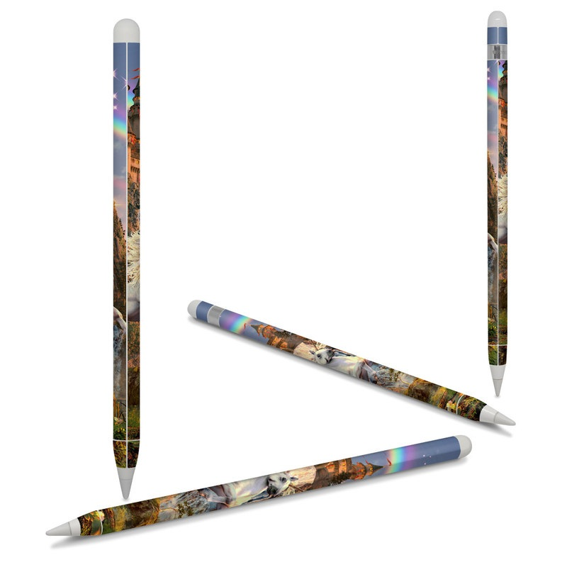 Apple Pencil Skin design of Nature, Unicorn, Fictional character, Sky, Mythical creature, Mythology, Cg artwork, Horse, Mane, Wildlife with black, gray, red, green, blue colors