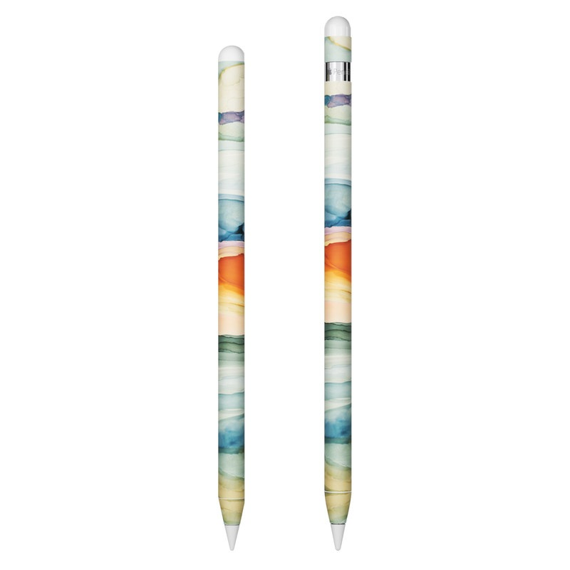 Apple Pencil Skin design of Watercolor paint, Painting, Sky, Wave, Geology, Landscape, Pattern, Acrylic paint, Cloud, Paint with blue, purple, orange, yellow, red, green, brown colors