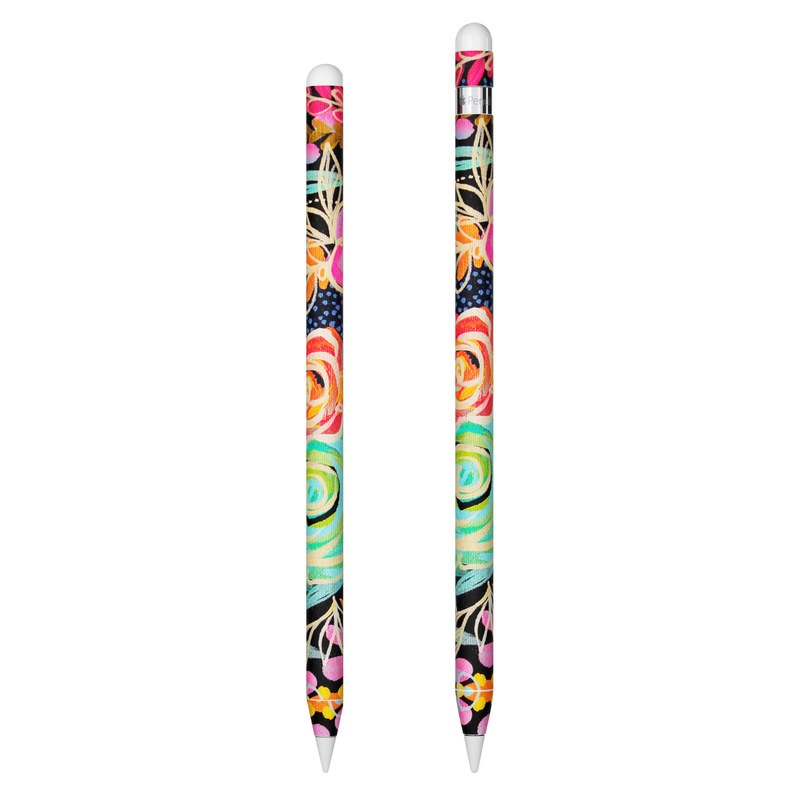 Apple Pencil Skin design of Pattern, Floral design, Design, Textile, Visual arts, Art, Graphic design, Psychedelic art, Plant with black, gray, green, red, blue colors