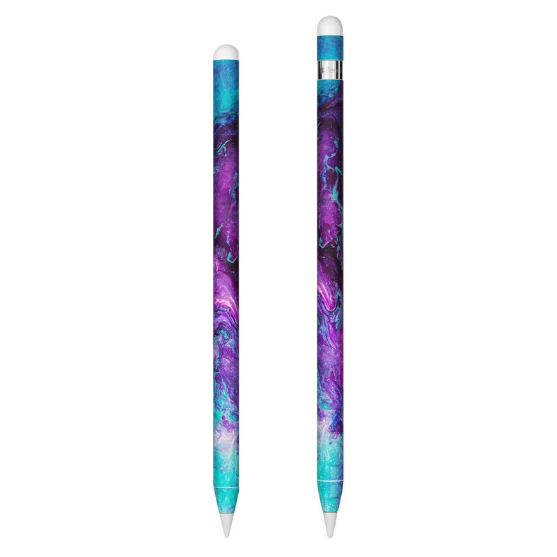 Apple Pencil Skin design of Blue, Purple, Violet, Water, Turquoise, Aqua, Pink, Magenta, Teal, Electric blue with blue, purple, black colors