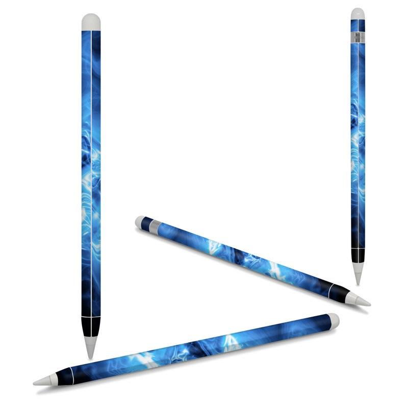 Apple Pencil Skin design of Blue, Water, Electric blue, Organism, Pattern, Smoke, Liquid, Art with blue, black, purple colors