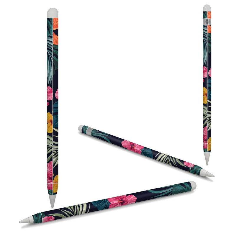 Apple Pencil 2nd Gen Skin design of Hawaiian hibiscus, Flower, Pattern, Plant, Leaf, Floral design, Botany, Design, Hibiscus, Petal with black, green, red, pink, orange, yellow, white colors