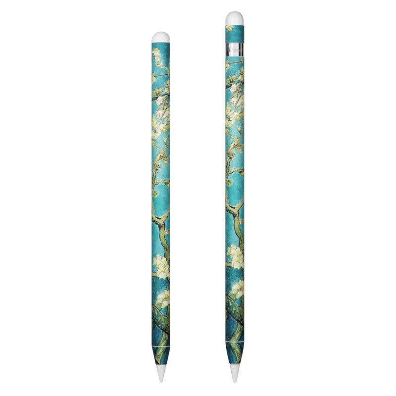 Apple Pencil Skin design of Tree, Branch, Plant, Flower, Blossom, Spring, Woody plant, Perennial plant with blue, black, gray, green colors