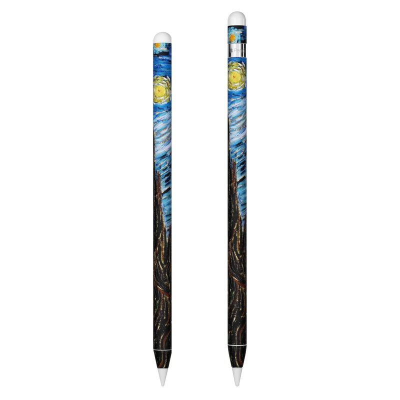 Apple Pencil 2nd Gen Skin design of Painting, Purple, Art, Tree, Illustration, Organism, Watercolor paint, Space, Modern art, Plant with gray, black, blue, green colors
