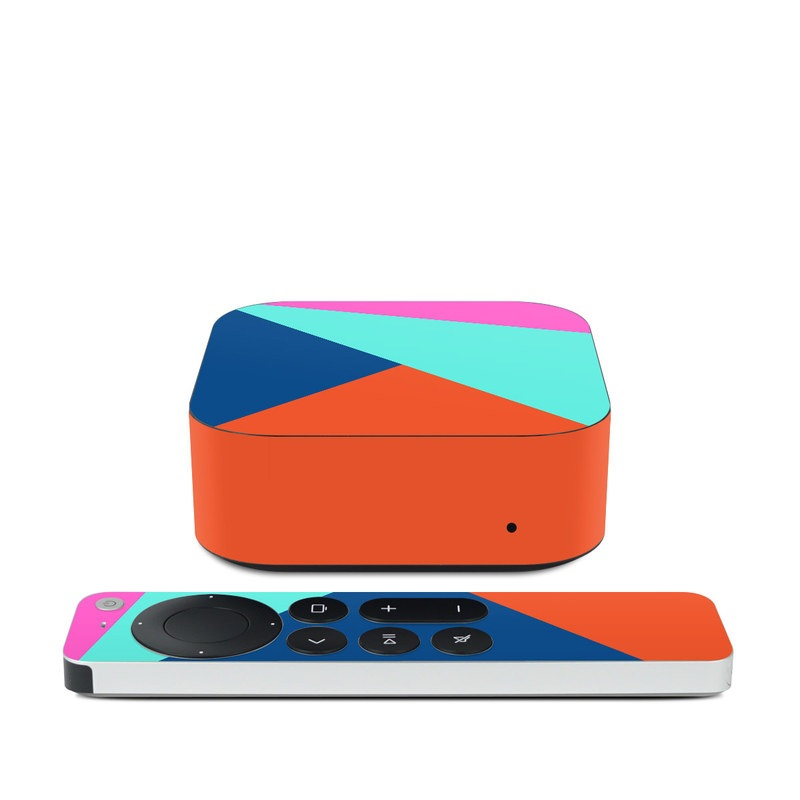 Apple TV 4K 2nd Gen Skin design of Blue, Colorfulness, Turquoise, Line, Azure, Triangle, Pattern, Graphic design, Magenta with blue, pink, orange, red colors
