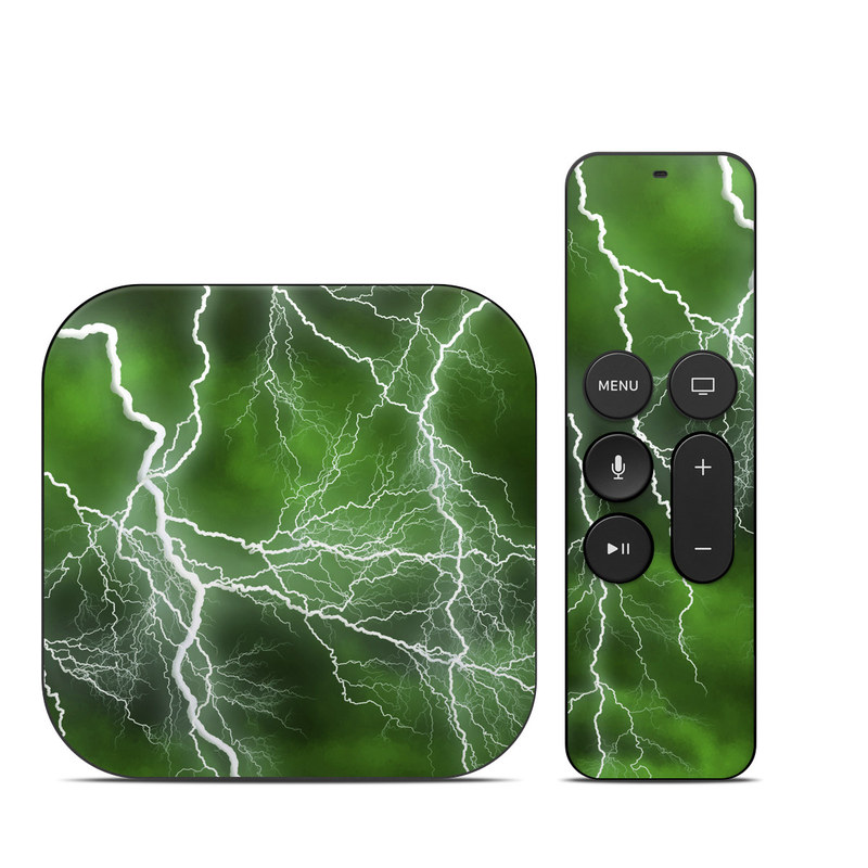 Apple TV 4th, 5th Gen Skin design of Thunderstorm, Thunder, Lightning, Nature, Green, Water, Sky, Atmosphere, Atmospheric phenomenon, Daytime with green, black, white colors