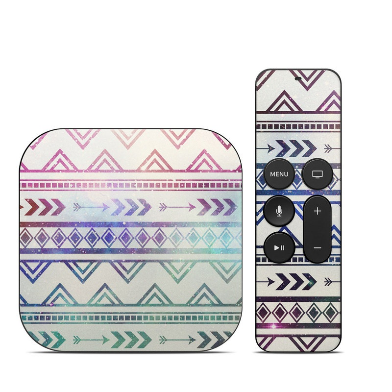 Apple TV 4th Gen Skin design of Pattern, Line, Teal, Design, Textile with gray, pink, yellow, blue, black, purple colors
