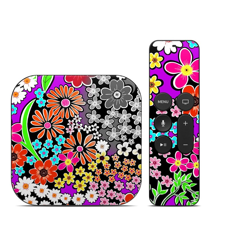 Apple TV 4th Gen Skin design of Pattern, Floral design, Design, Flower, Plant, Visual arts, Wildflower, Circle, Graphic design with black, gray, purple, white, red, green, orange, yellow colors