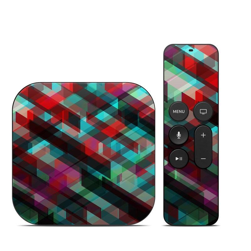 Apple TV 4th Gen Skin design of Green, Pattern, Magenta, Purple, Orange, Line, Design, Textile, Plaid with black, red, green, blue, gray colors