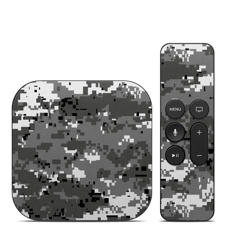 Apple TV 4th Gen Skin design of Military camouflage, Pattern, Camouflage, Design, Uniform, Metal, Black-and-white with black, gray colors
