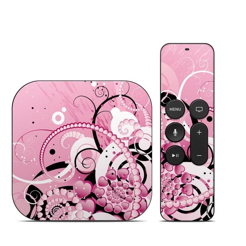 Apple TV 4th Gen Skin design of Pink, Floral design, Graphic design, Text, Design, Flower Arranging, Pattern, Illustration, Flower, Floristry with pink, gray, black, white, purple, red colors