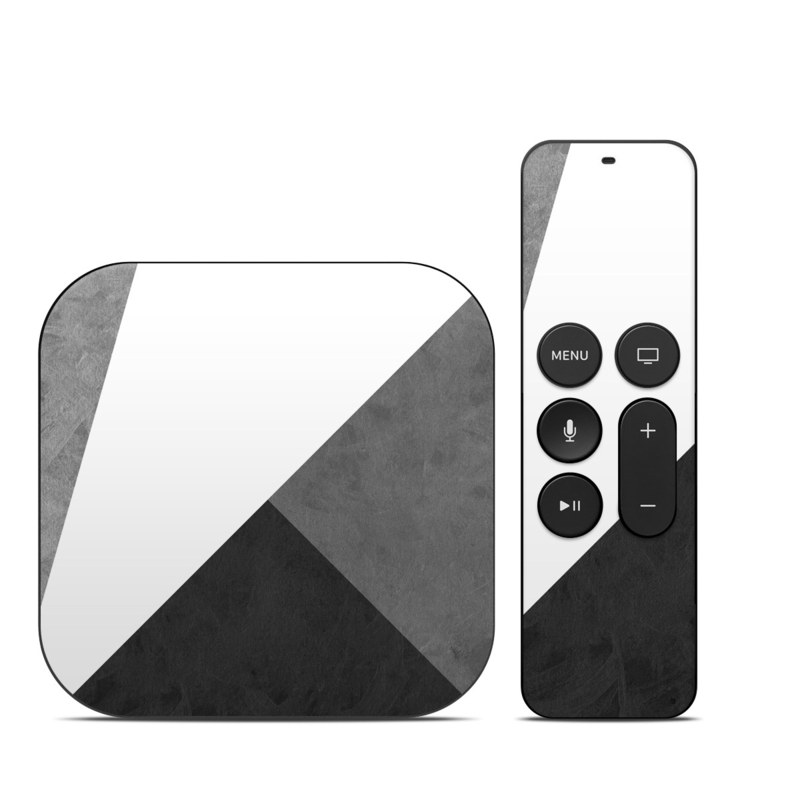 Apple TV 4th Gen Skin design of Black, White, Black-and-white, Line, Grey, Architecture, Monochrome, Triangle, Monochrome photography, Pattern with white, black, gray colors