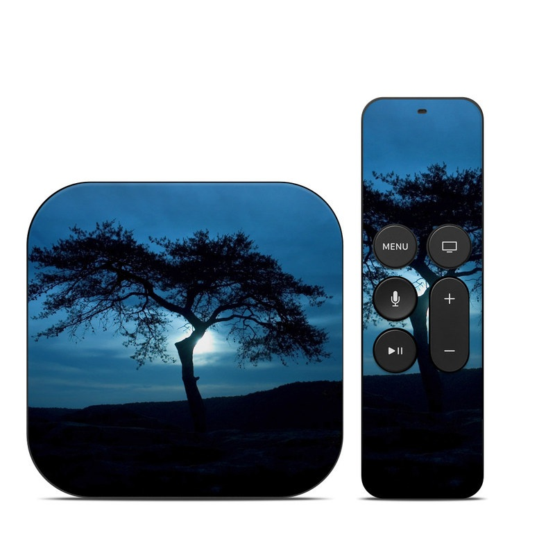 Apple TV 4th Gen Skin design of Sky, Tree, Nature, Natural landscape, Blue, Horizon, Branch, Woody plant, Dusk, Savanna with black, blue, gray colors
