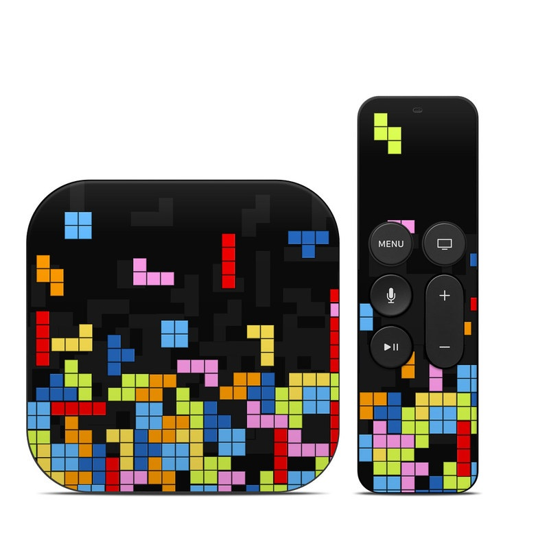 Apple TV 4th Gen Skin design of Pattern, Symmetry, Font, Design, Graphic design, Line, Colorfulness, Magenta, Square, Graphics with black, green, blue, orange, red colors
