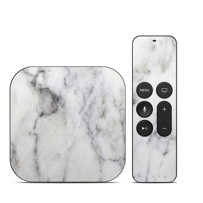 Apple TV 4th Gen Skin design of White, Geological phenomenon, Marble, Black-and-white, Freezing with white, black, gray colors