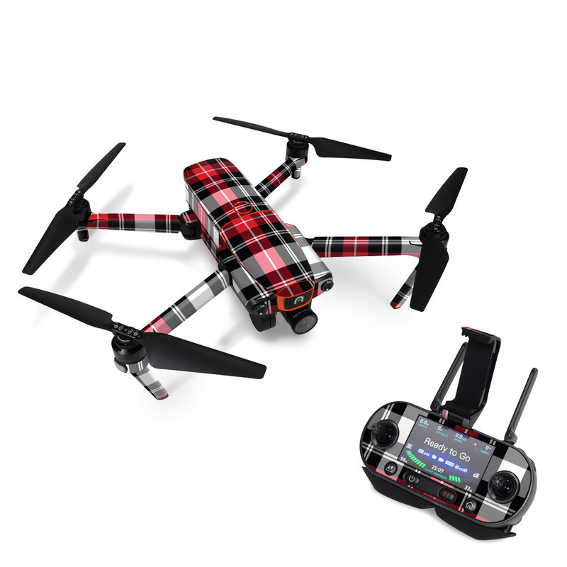 Autel EVO Skin design of Plaid, Tartan, Pattern, Red, Textile, Design, Line, Pink, Magenta, Square with black, gray, pink, red, white colors
