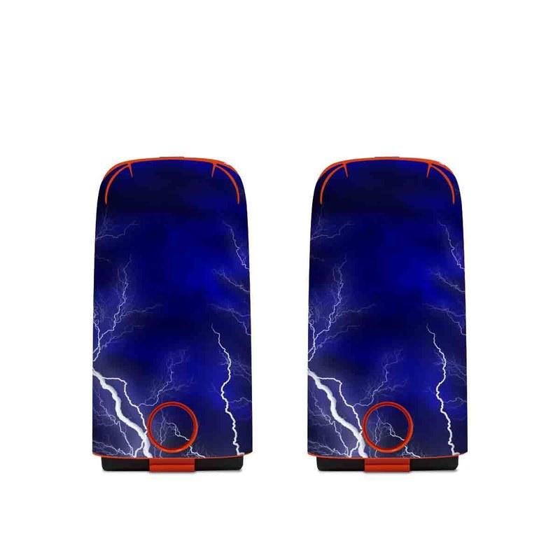 Autel EVO Battery Skin design of Thunder, Lightning, Thunderstorm, Sky, Nature, Electric blue, Atmosphere, Daytime, Blue, Atmospheric phenomenon with blue, black, white colors