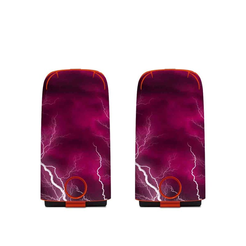 Autel EVO Battery Skin design of Thunder, Lightning, Thunderstorm, Sky, Nature, Purple, Red, Atmosphere, Violet, Pink with pink, black, white colors