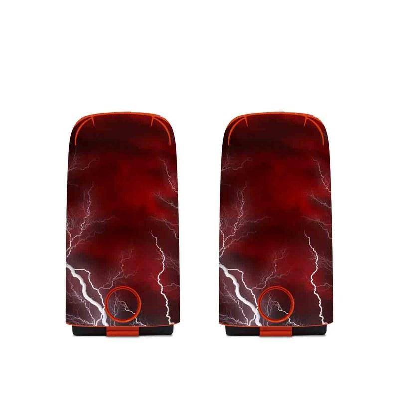 Autel EVO Battery Skin design of Thunder, Thunderstorm, Lightning, Red, Nature, Sky, Atmosphere, Geological phenomenon, Lighting, Atmospheric phenomenon with red, black, white colors