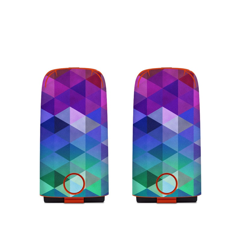 Autel EVO Battery Skin design of Purple, Violet, Pattern, Blue, Magenta, Triangle, Line, Design, Graphic design, Symmetry with blue, purple, green, red, pink colors
