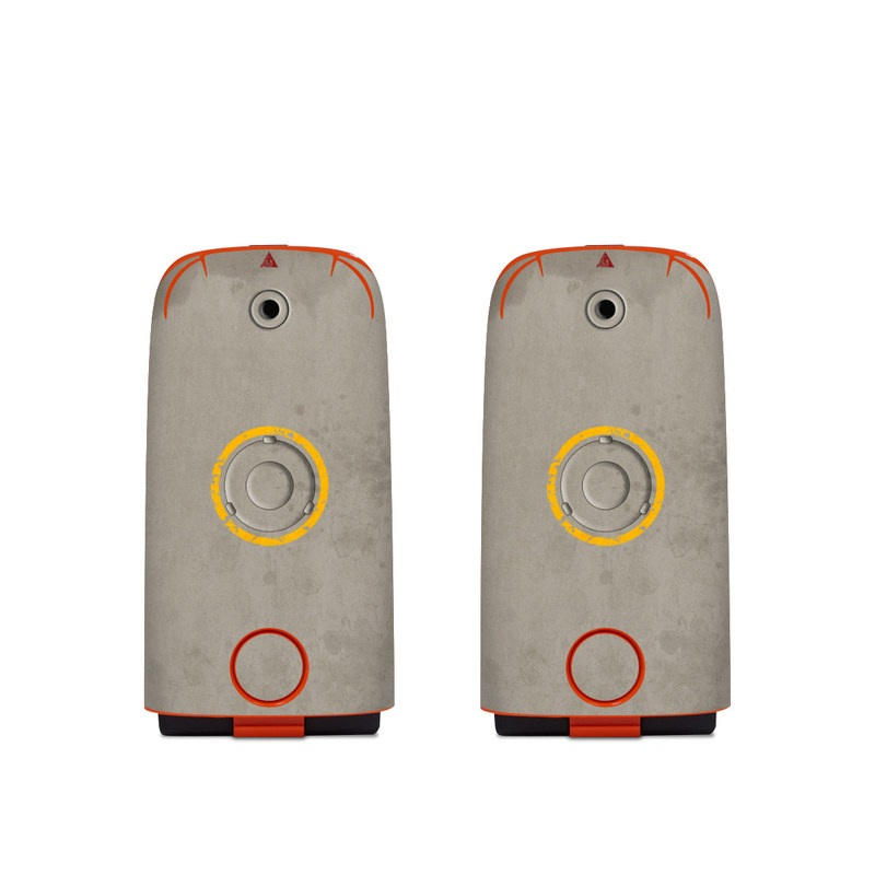 Autel EVO Battery Skin design of Yellow, Wall, Line, Orange, Design, Concrete, Font, Architecture, Parallel, Wood with gray, yellow, red, black colors