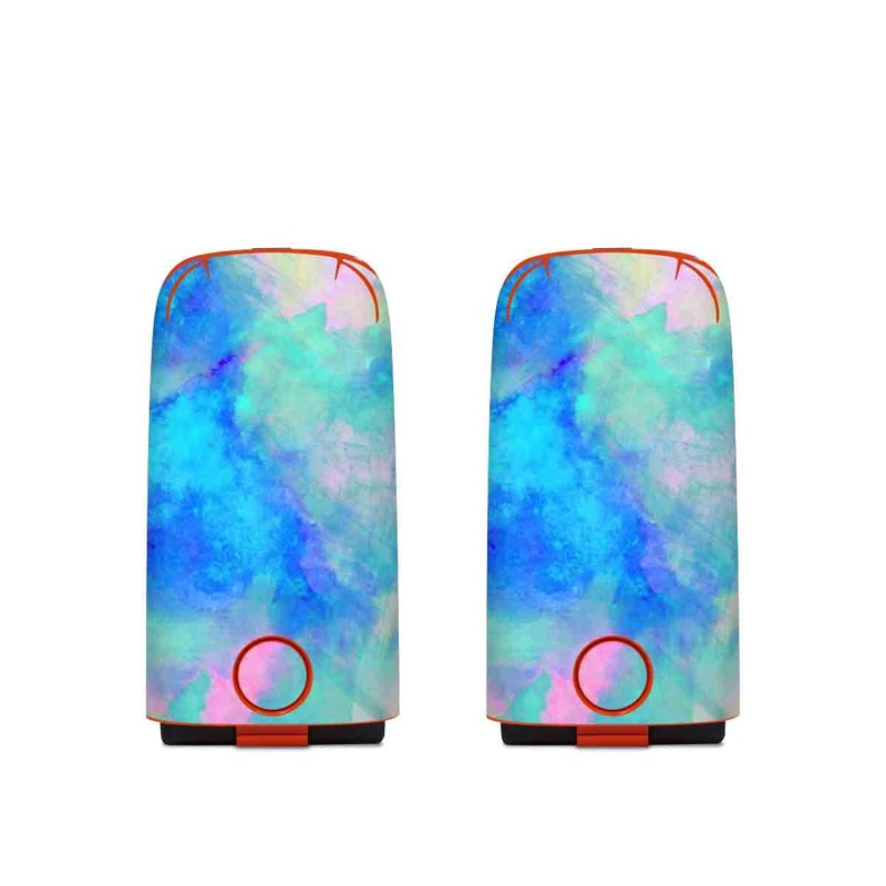 Autel EVO Battery Skin design of Blue, Turquoise, Aqua, Pattern, Dye, Design, Sky, Electric blue, Art, Watercolor paint with blue, purple colors