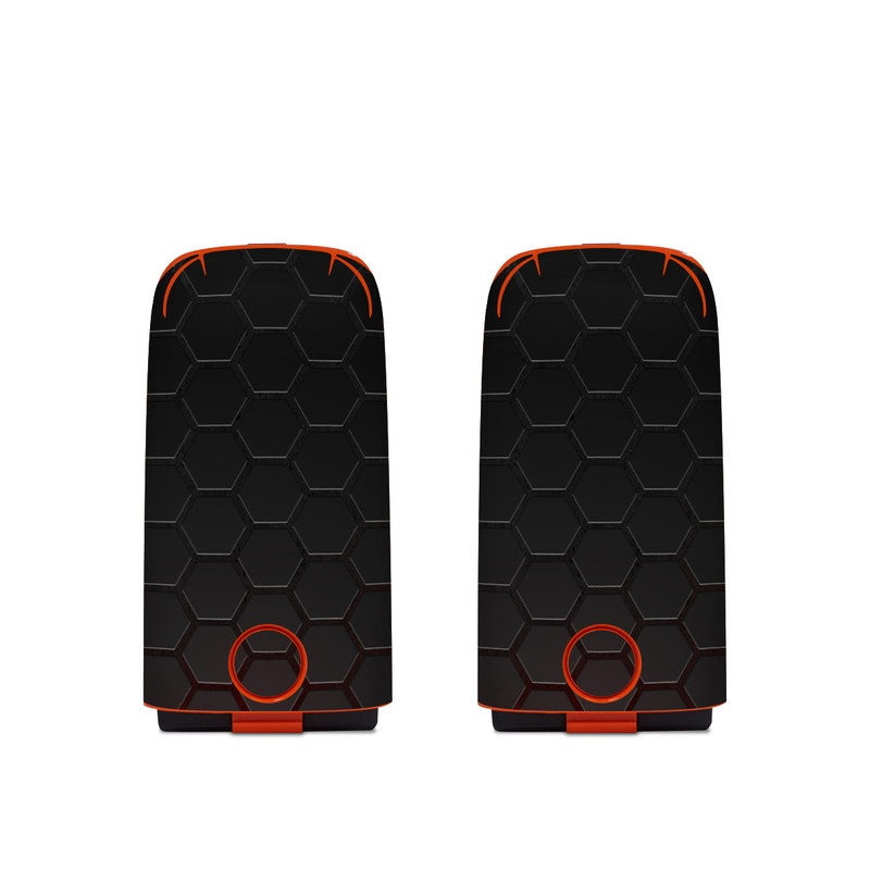 Autel EVO Battery Skin design of Black, Pattern, Metal, Design, Mesh, Carbon, Space, Wallpaper with black, red colors