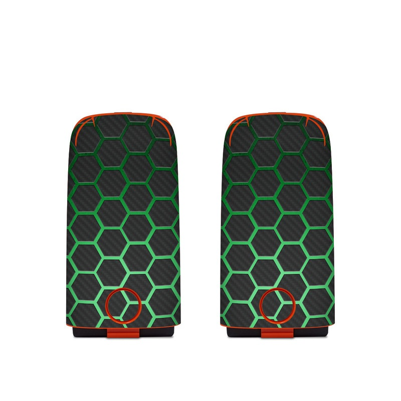 Autel EVO Battery Skin design of Pattern, Metal, Design, Carbon, Space, Circle with black, gray, green colors