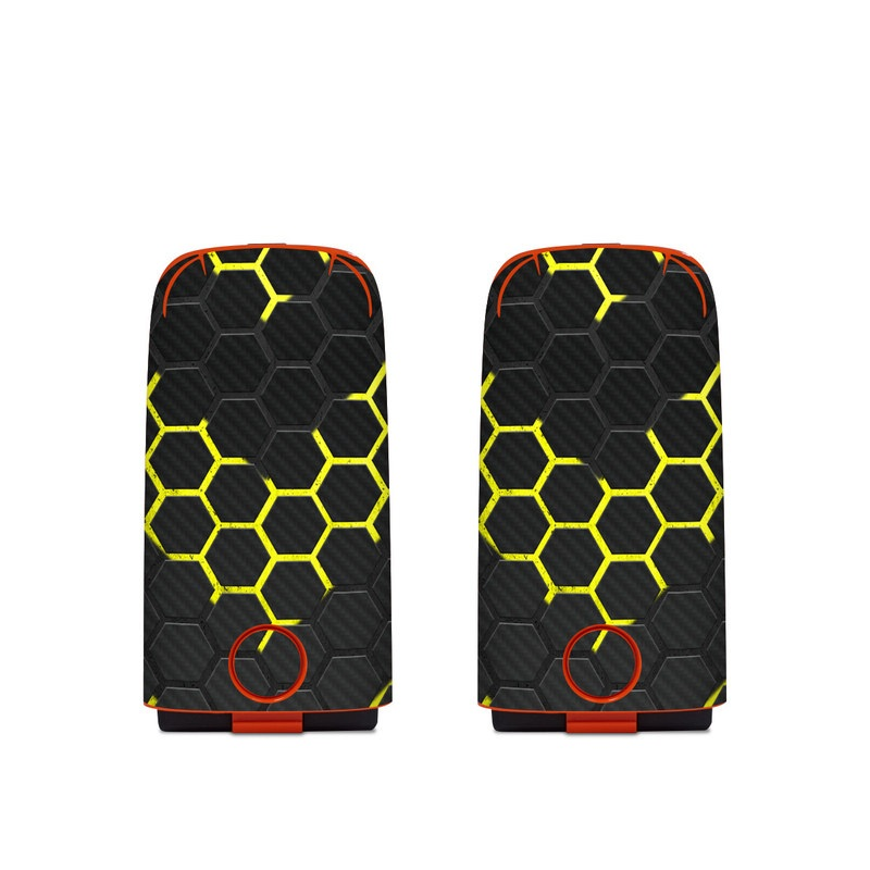 Autel EVO Battery Skin design of Black, Pattern, Yellow, Mesh, Net, Chain-link fencing, Design, Metal with black, gray, yellow colors