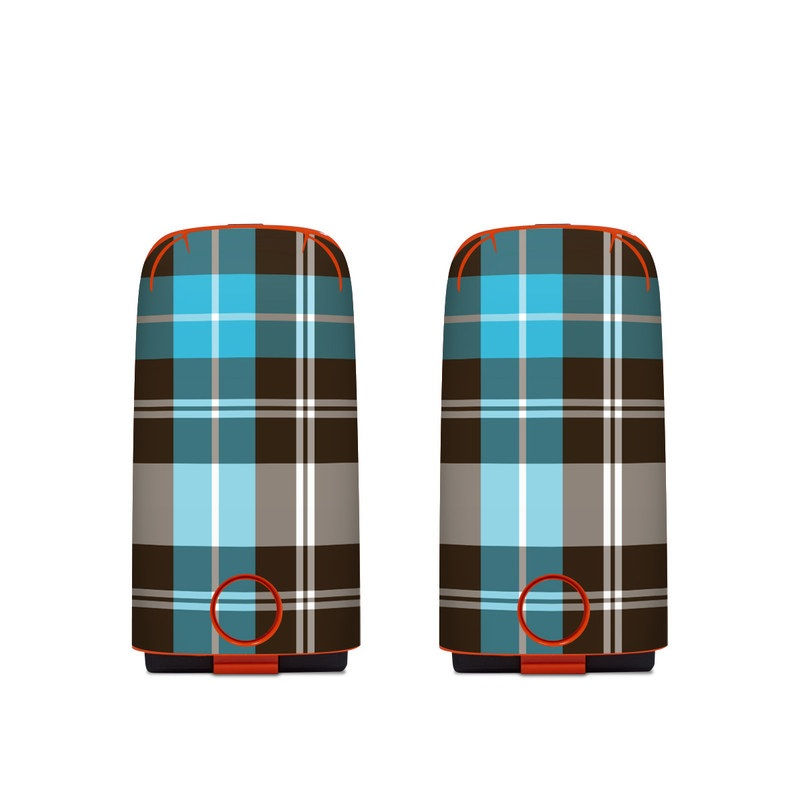 Autel EVO Battery Skin design of Plaid, Pattern, Tartan, Turquoise, Textile, Design, Brown, Line, Tints and shades with gray, black, blue, white colors