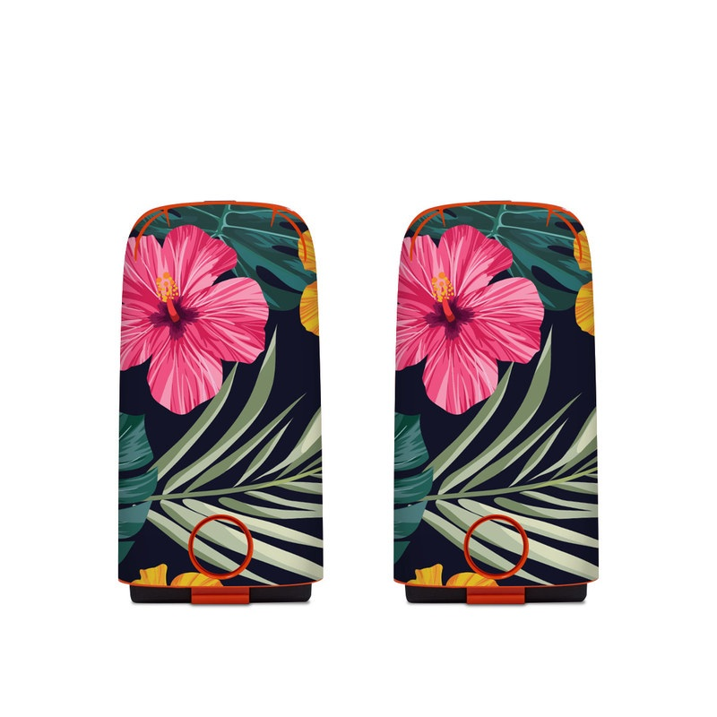 Autel EVO Battery Skin design of Hawaiian hibiscus, Flower, Pattern, Plant, Leaf, Floral design, Botany, Design, Hibiscus, Petal with black, green, red, pink, orange, yellow, white colors