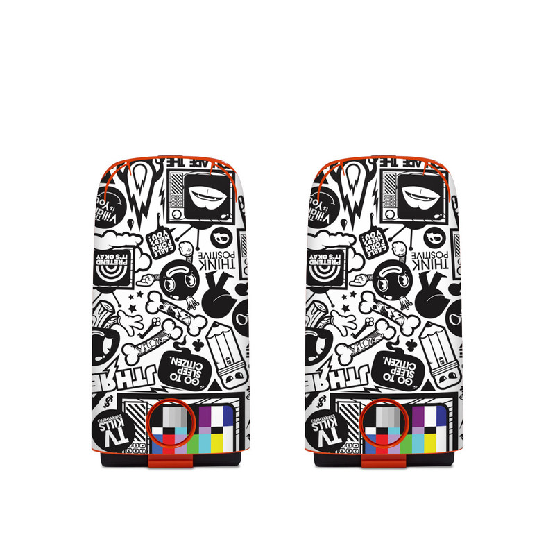 Autel EVO Battery Skin design of Pattern, Drawing, Doodle, Design, Visual arts, Font, Black-and-white, Monochrome, Illustration, Art with gray, black, white colors