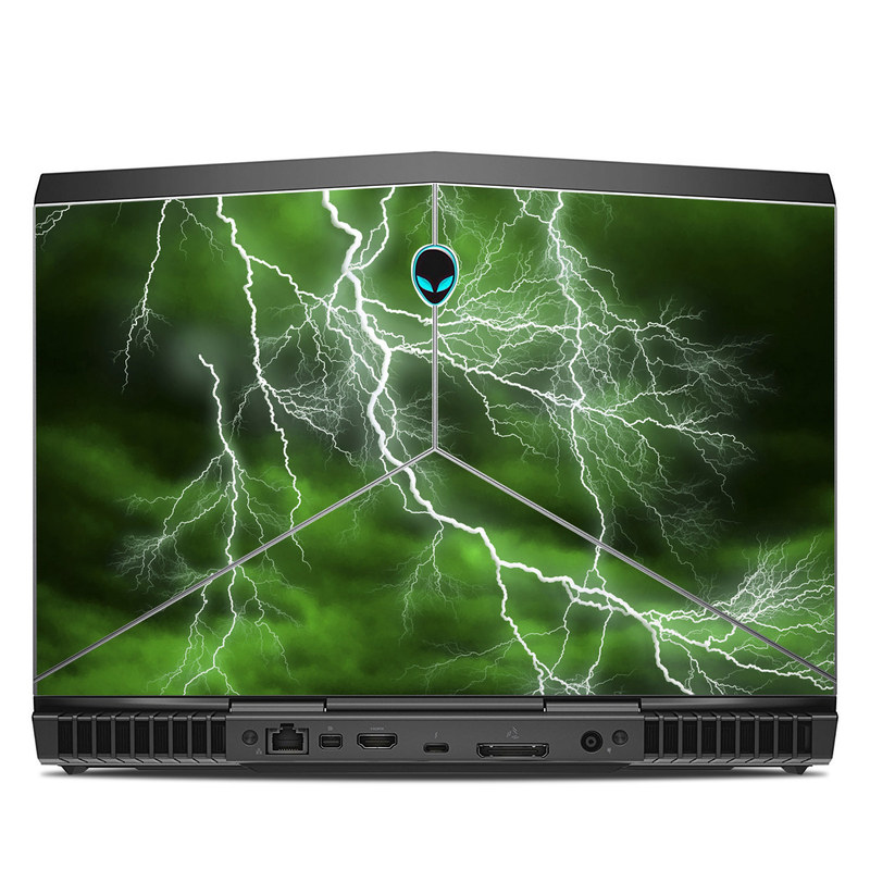 Alienware 13 R3 Skin design of Thunderstorm, Thunder, Lightning, Nature, Green, Water, Sky, Atmosphere, Atmospheric phenomenon, Daytime with green, black, white colors