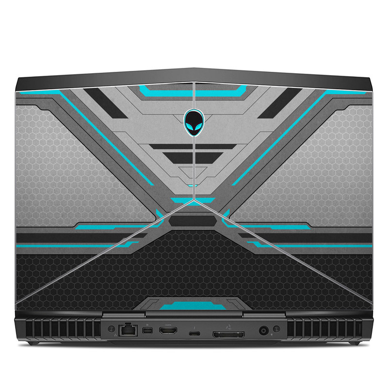 Alienware 13 R3 Skin design of Blue, Turquoise, Pattern, Teal, Symmetry, Design, Line, Automotive design, Font with black, gray, blue colors