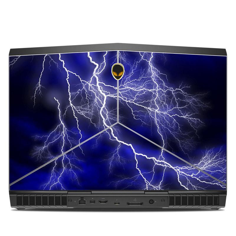 Alienware 15 R3 Skin design of Thunder, Lightning, Thunderstorm, Sky, Nature, Electric blue, Atmosphere, Daytime, Blue, Atmospheric phenomenon with blue, black, white colors