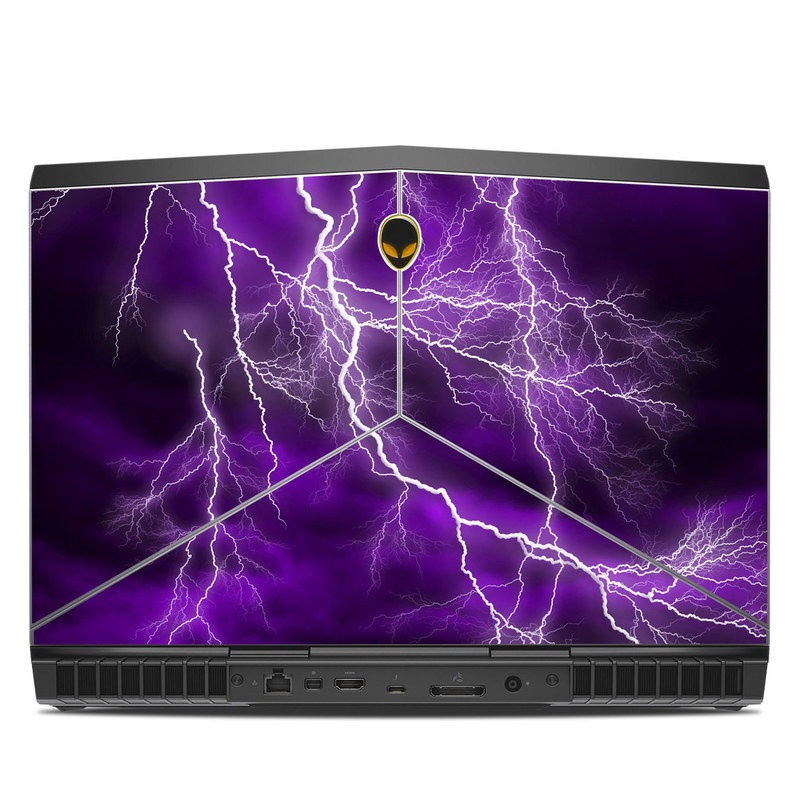 Alienware 15 R3 Skin design of Thunder, Lightning, Thunderstorm, Sky, Nature, Purple, Violet, Atmosphere, Storm, Electric blue with purple, black, white colors