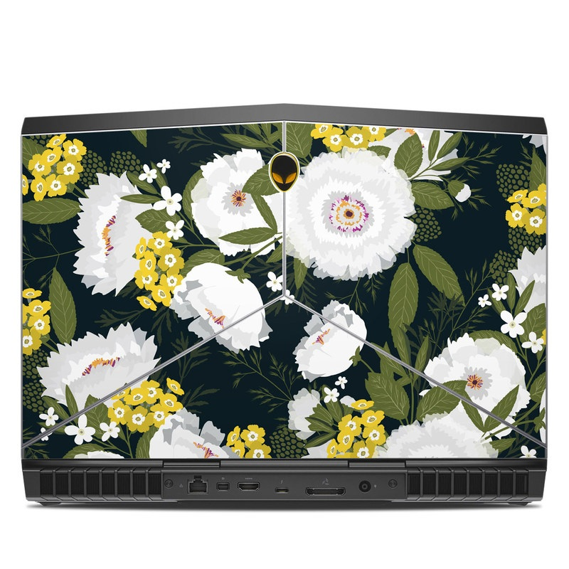 Alienware 15 R3 Skin design of Flower, Flowering plant, Plant, Petal, Daisy, mayweed, Wildflower, Floral design, Annual plant with green, yellow, white, orange colors