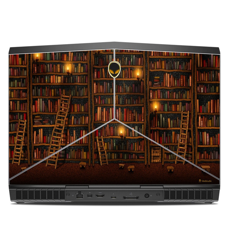Alienware 15 R3 Skin design of Shelving, Library, Bookcase, Shelf, Furniture, Book, Building, Publication, Room, Darkness with black, red colors