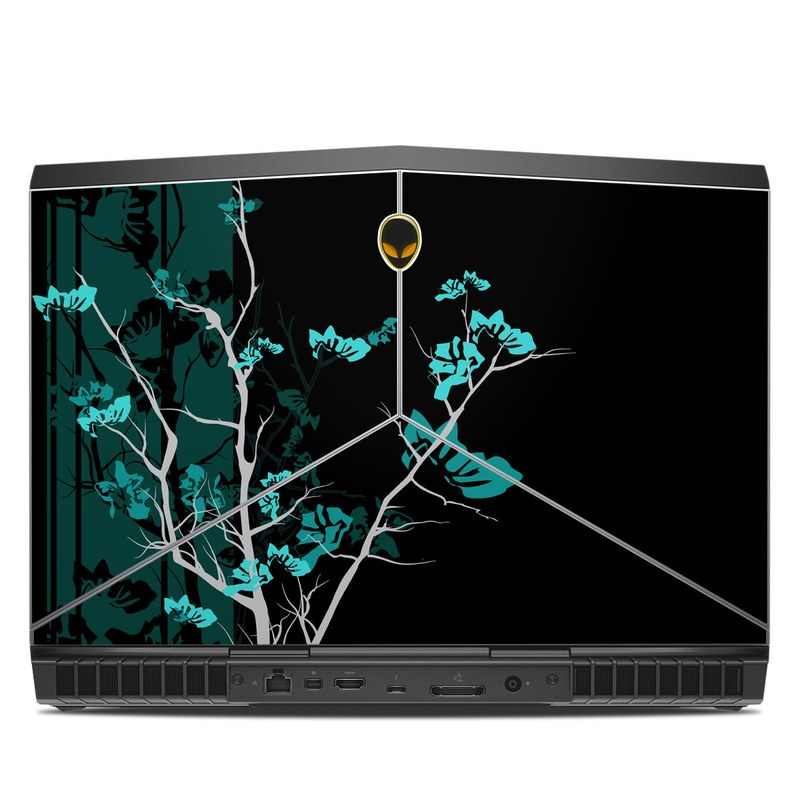 Alienware 15 R3 Skin design of Branch, Black, Blue, Green, Turquoise, Teal, Tree, Plant, Graphic design, Twig with black, blue, gray colors