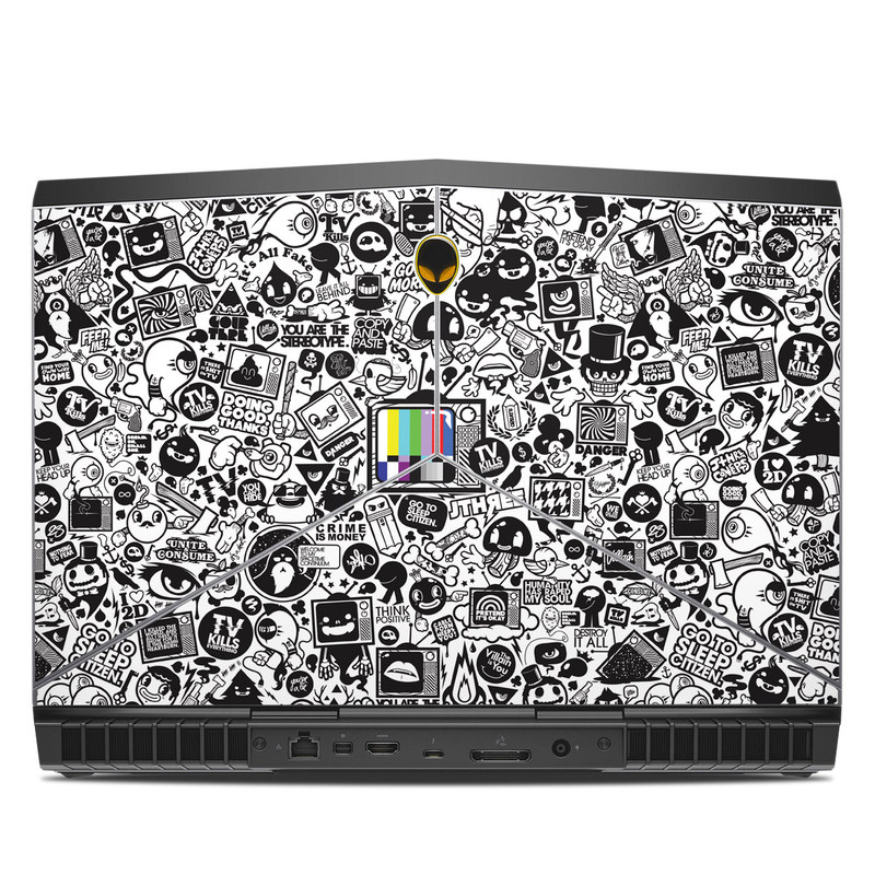 Alienware 15 R3 Skin design of Pattern, Drawing, Doodle, Design, Visual arts, Font, Black-and-white, Monochrome, Illustration, Art with gray, black, white colors