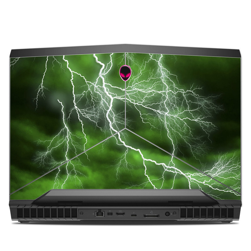 Alienware 17 R4 Skin design of Thunderstorm, Thunder, Lightning, Nature, Green, Water, Sky, Atmosphere, Atmospheric phenomenon, Daytime with green, black, white colors
