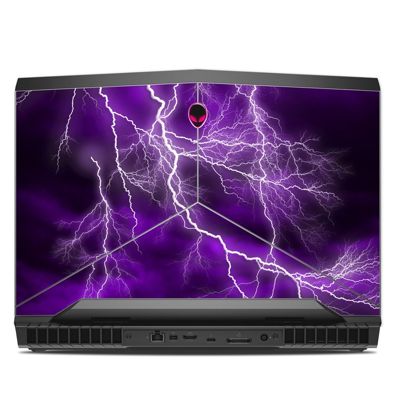Alienware 17 R4 Skin design of Thunder, Lightning, Thunderstorm, Sky, Nature, Purple, Violet, Atmosphere, Storm, Electric blue with purple, black, white colors