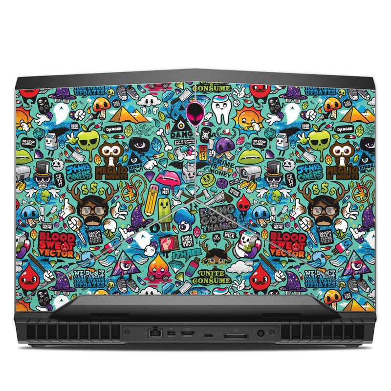 Alienware 17 R4 Skin design of Cartoon, Art, Pattern, Design, Illustration, Visual arts, Doodle, Psychedelic art with black, blue, gray, red, green colors